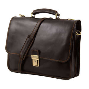 TL10029 Leather Torino 2 Compartment Laptop Satchel-Messenger-Br