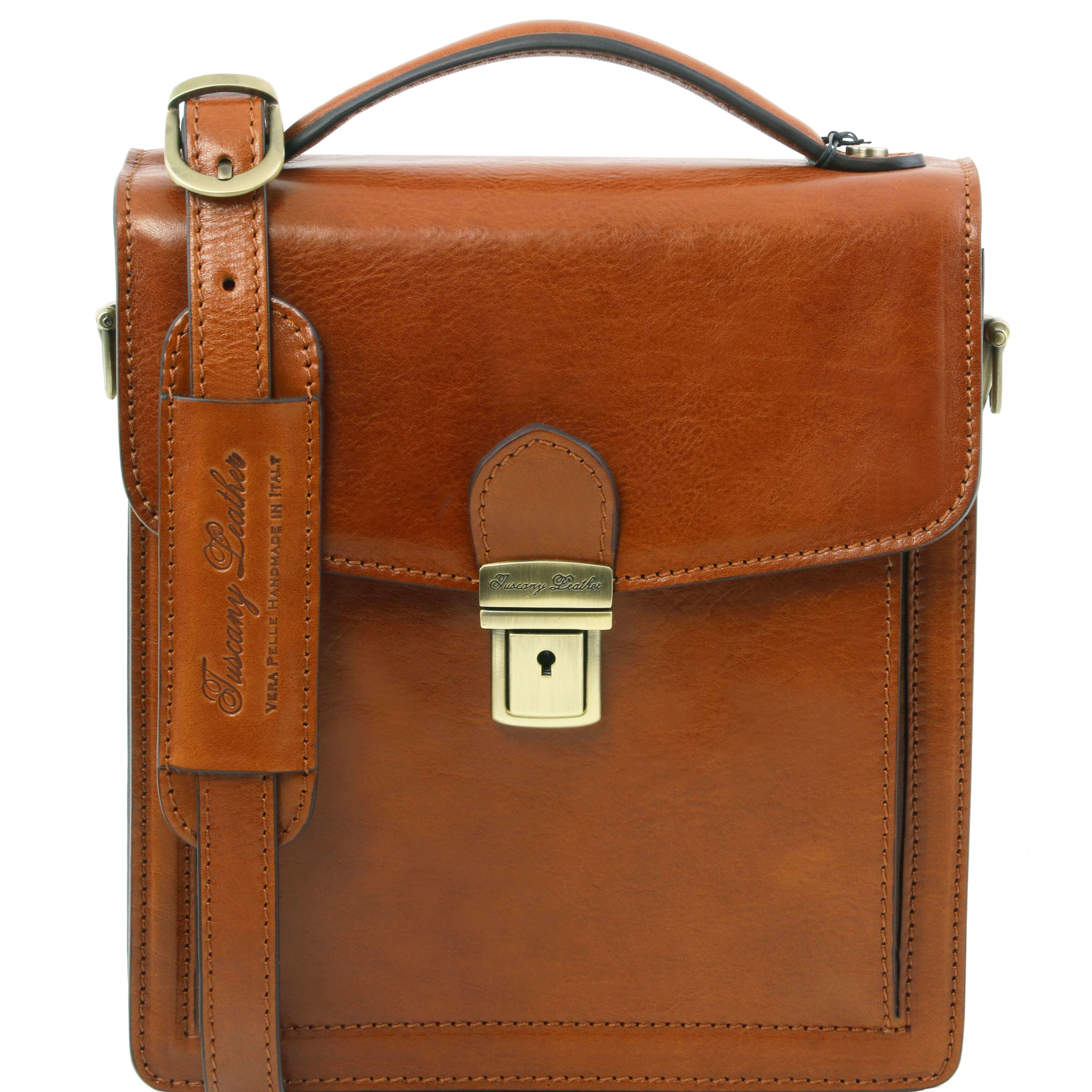 TL141425 New David Mens Shoulder-Saddle-Clutch-Man Bag 4 Colours+Shoulder Strap In Honey
