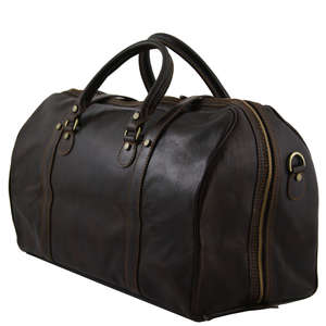 TL1013 XL Berlin Leather Travel-Luggage-Duffel-Bag-Case & Should