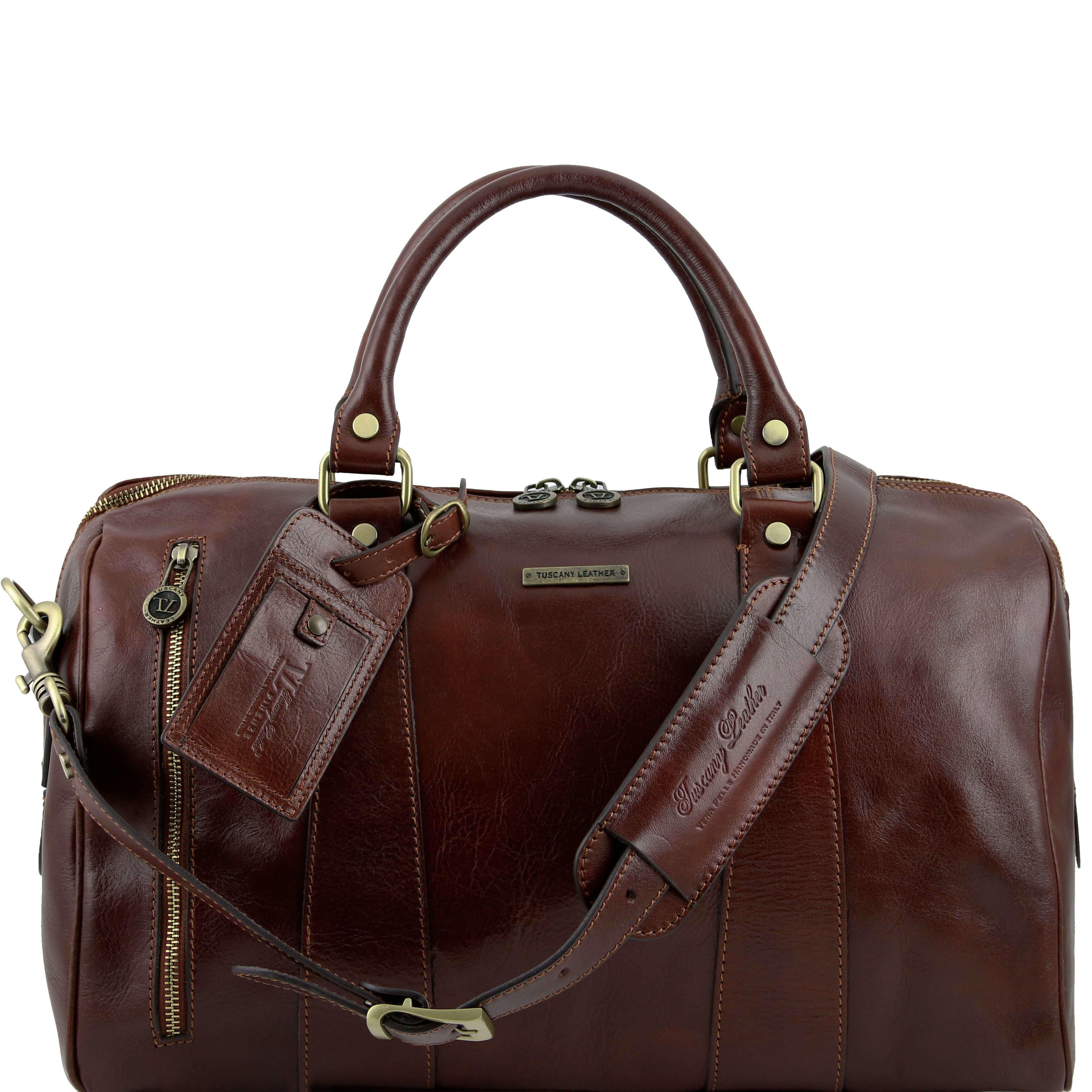 TL141216 Leather Voyager Holdall-Travel-Luggage-Duffel Bag-Case