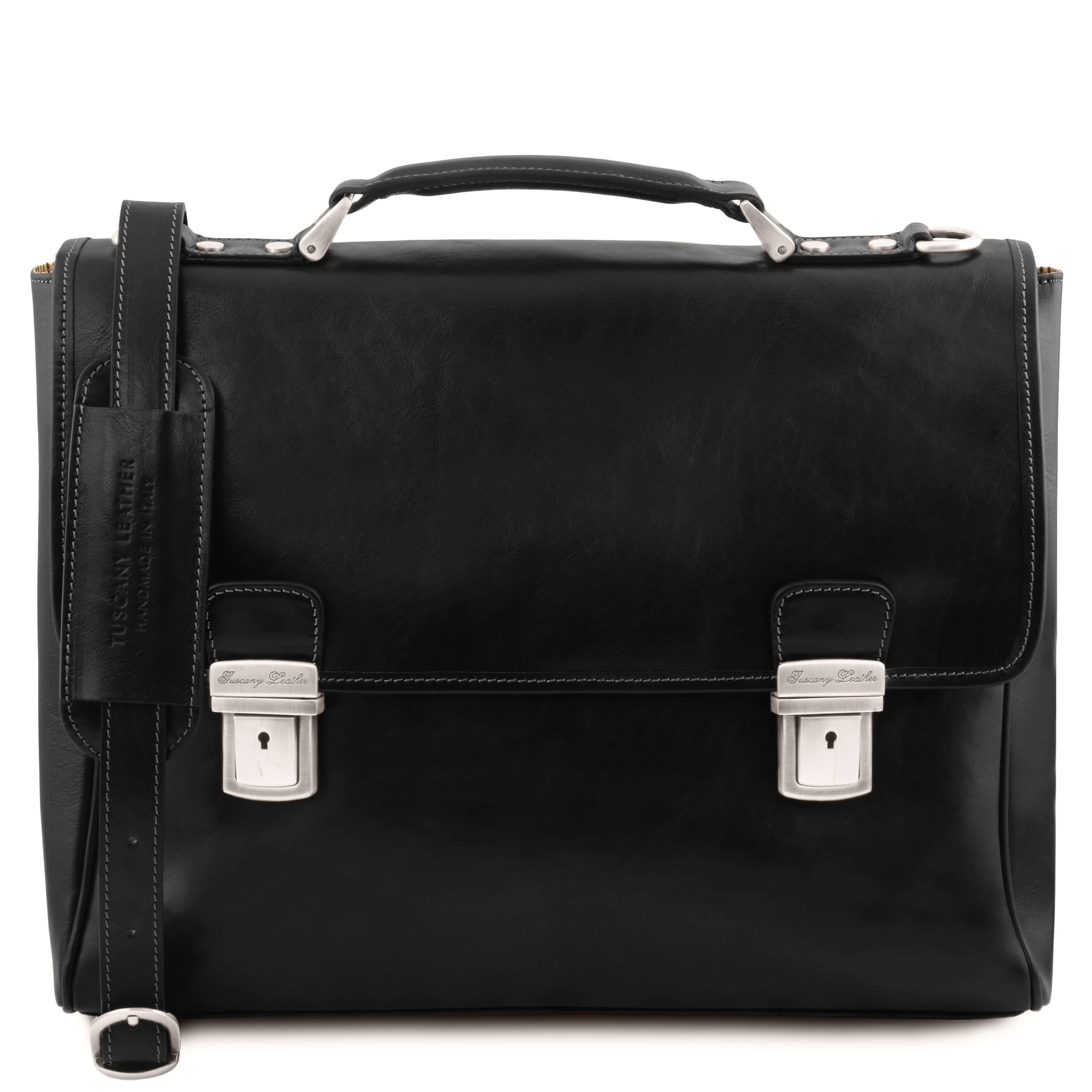 Trieste Leather Laptop Case With 2 Compartments TL141662 By Tuscany Leather