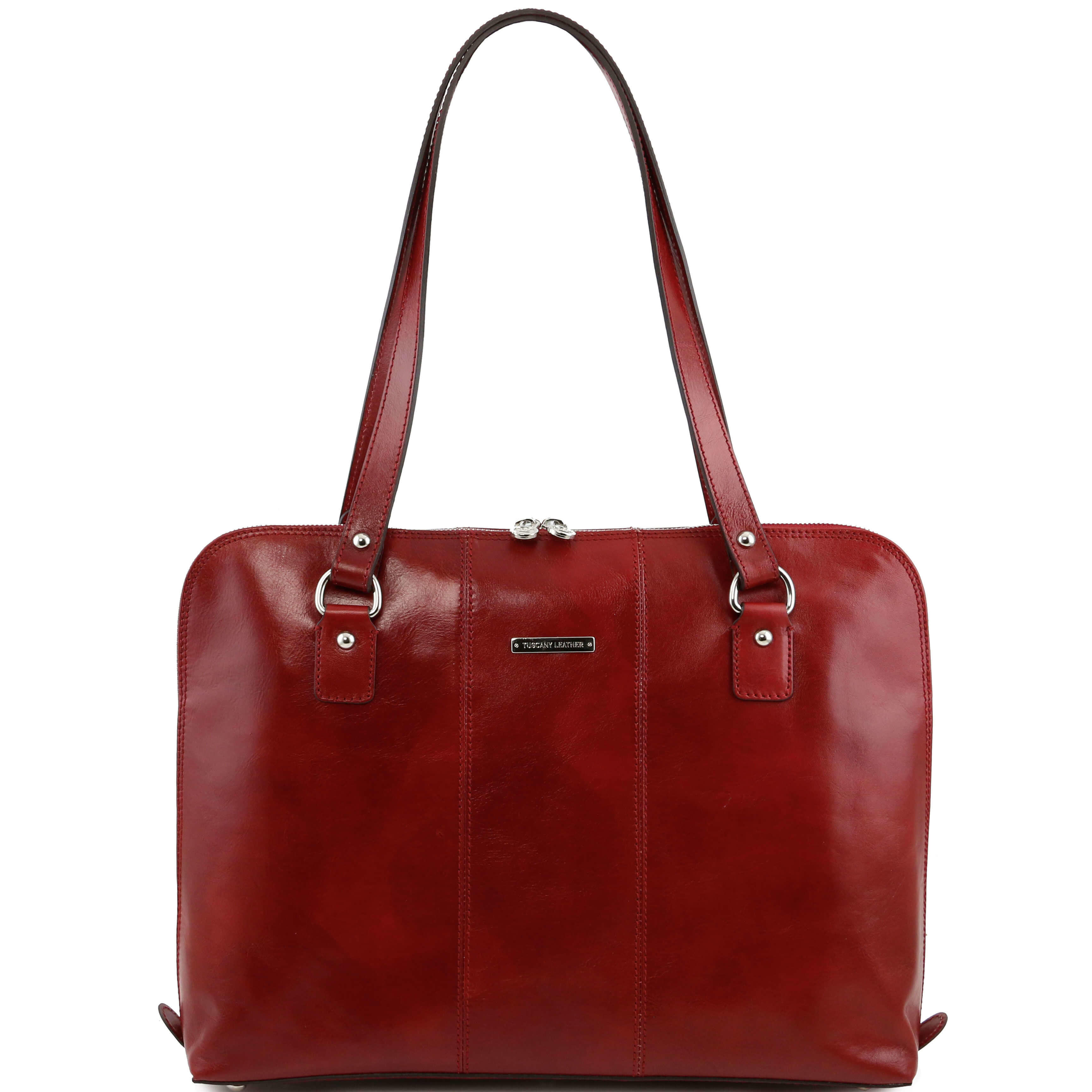 "TL141277 Ravenna Leather 15.6"" Laptop Bag-Case-Briefcase-Shoulder Bag Red"