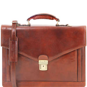 Tuscany Leather TL141544 Volterra 2 Compartment Traditional - Briefcase + Shoulder Strap 4 Colours