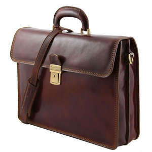 "TL10018 Parma Two Compartments Leather 15""Laptop-Briefcase-Bag & Shoulder Strap"