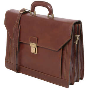 TL10026 Roma Leather 3 Compartment & Shoulder Strap-Satchel-Mess