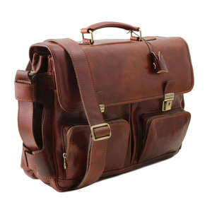 "Tuscany Leather TL141449 Ventimiglia 15.6"" Laptop Case-Bag-Messenger-Satchel+Should Strap"
