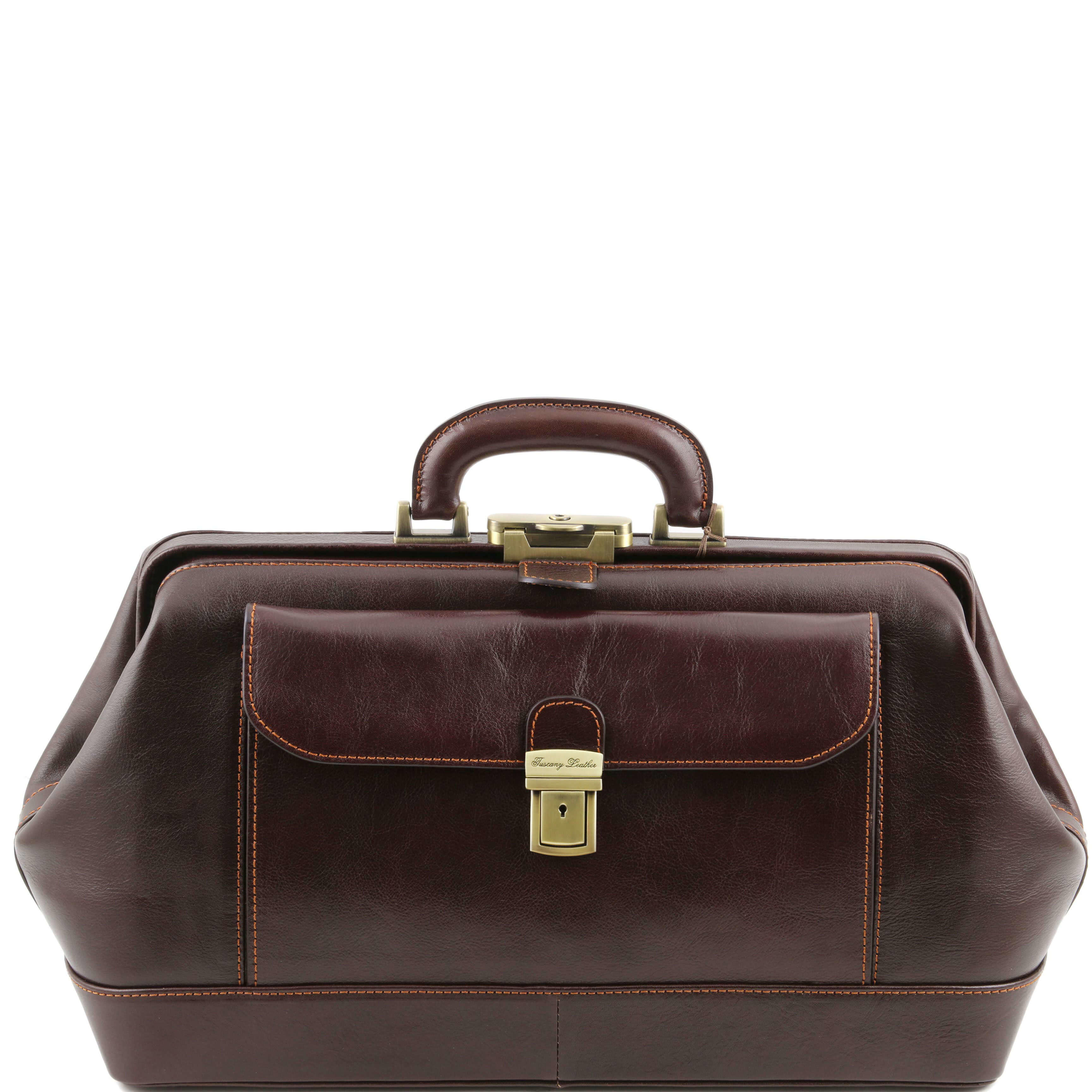 TL141298 Bernini Leather Doctors Bag - Holds iPad's etc - Dark B