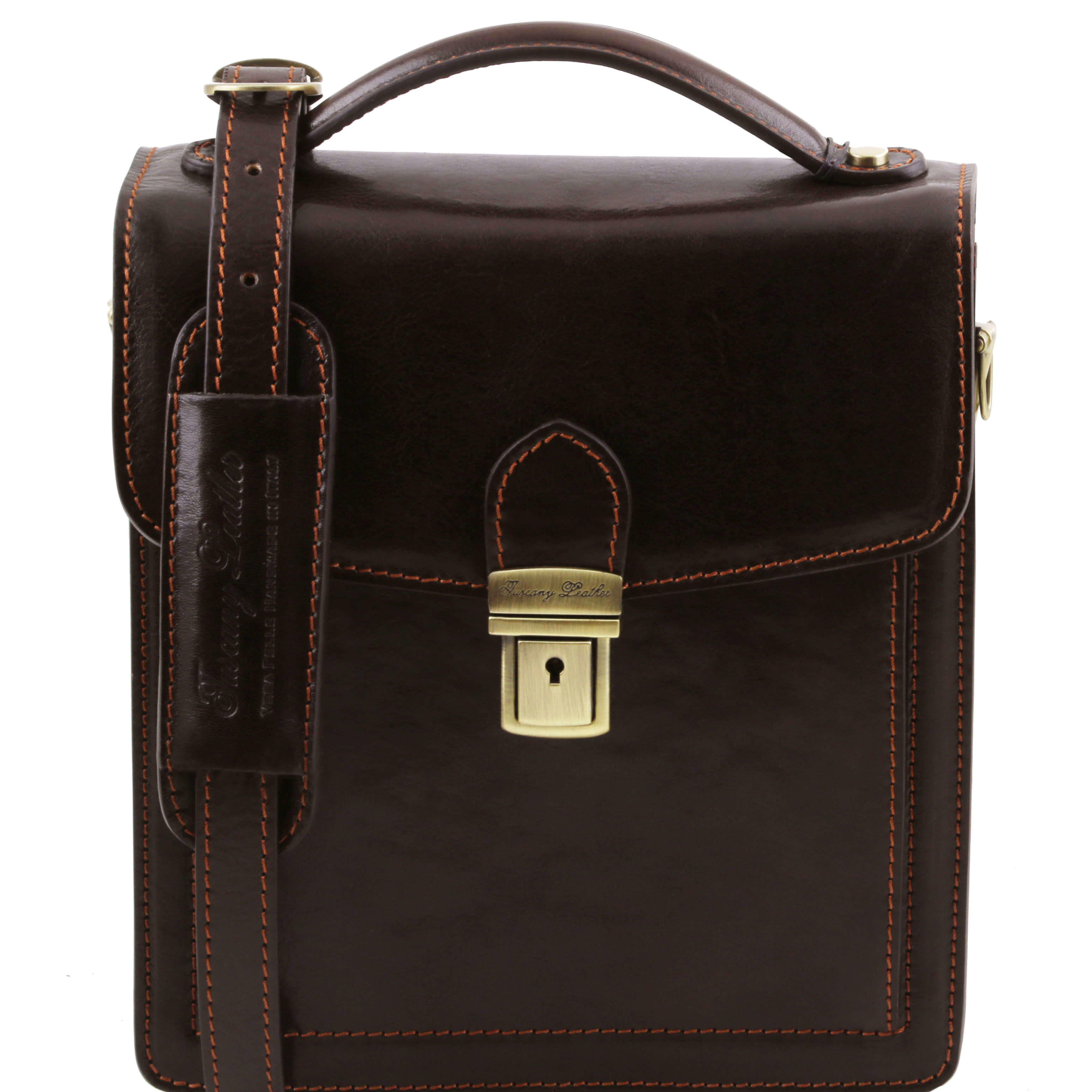 TL141425 New David Mens Shoulder-Saddle-Clutch-Man Bag 4 Colours+Shoulder Strap In Dark Brown