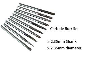 carbide burr set with 2.35mm diameter head and 2.35mm shank by Eternal Tools