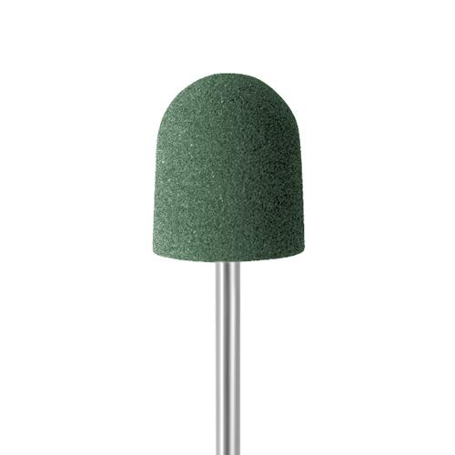 Green rubber polisher for smoothing metals. dome shaped