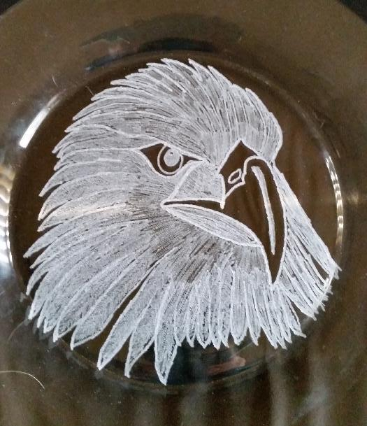 Bird of Prey Glass Engraving by Adrienne McClure. Engraved using Eternal Tools Glass Engraving Kit (Bare Minimum) product code: BMGEK