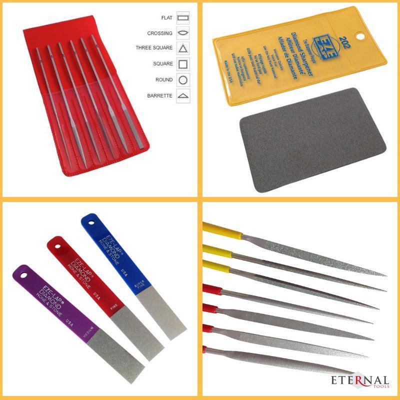 Diamond Files and diamond sharpeners by Eternal Tools for shaping glass and removing sharp edges and burrs