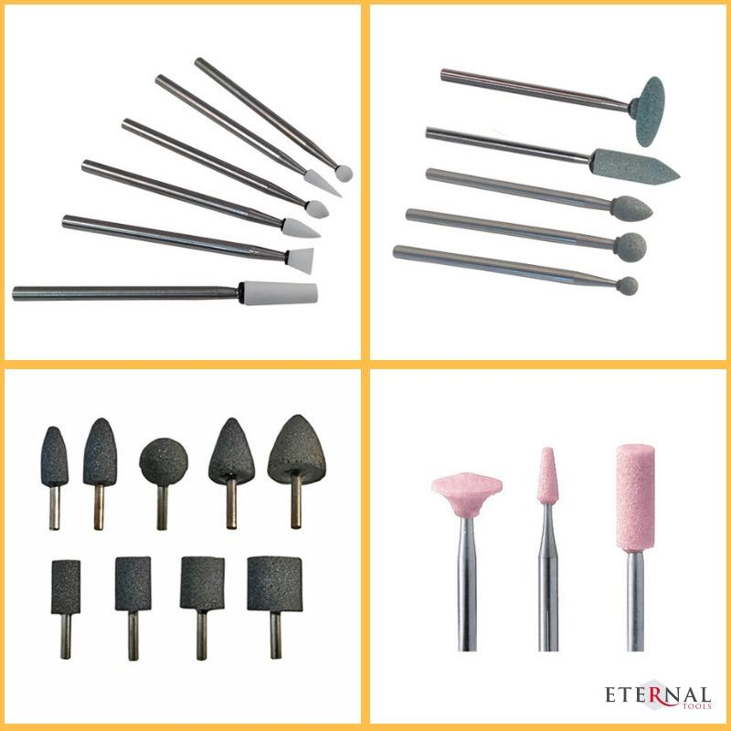 Abrasive stone burrs for carving and shaping glass by Eternal Tools.