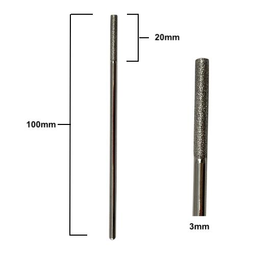 Dimenions of 100mm long x 3mm diameter diamond drill bits