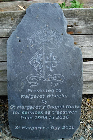 St Margarets Chapel guild plaque engraved with small diamond ball burrs from Eternal Tools