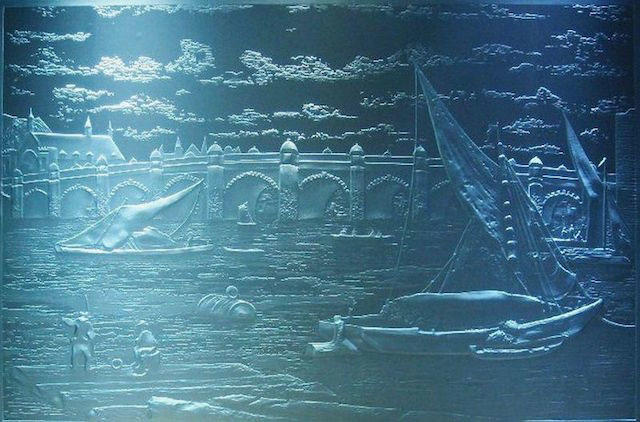 'The Bridge' by Guergana Sabkova. Sand blasting or sand carving glass engraving as featured on Eternal Tools article '5 Glass Engraving Techniques and How They're Done'