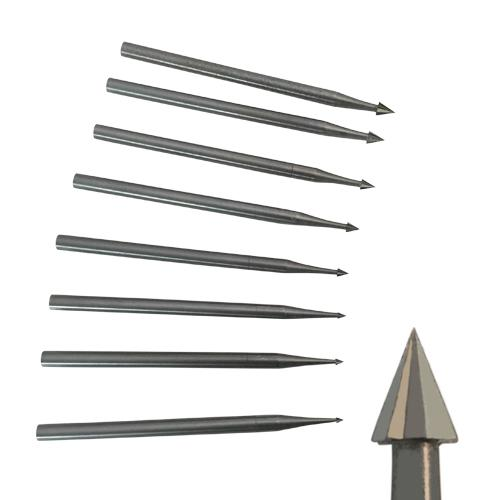 Small carbide cone burrs for engraving and shaping in metal and stone setting