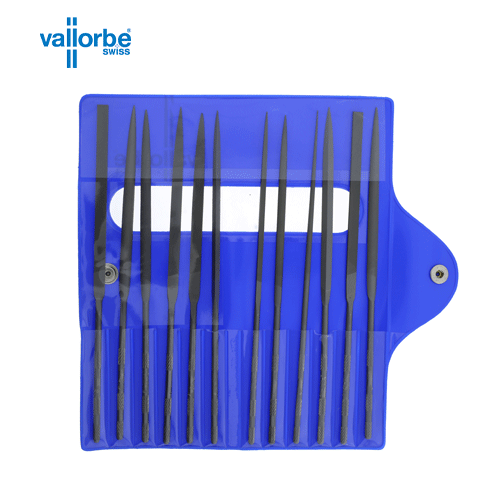 Vallorbe 12 piece needle file set. Assoted cuts 2, 3 and 4. 160mm