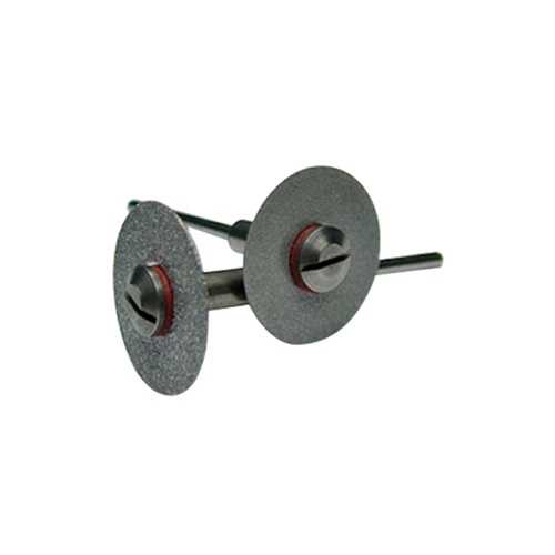 Screw mandrel holding a diamond slitting disc 0.5mm