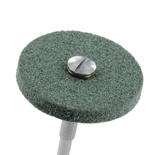 Green, medium Airflex polishing wheel for pre-polish and smoothing on screw mandrel