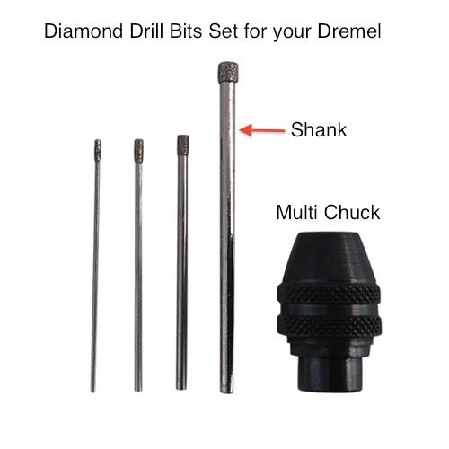 Dremel Multi Chuck and diamond drill bits for drilling jade