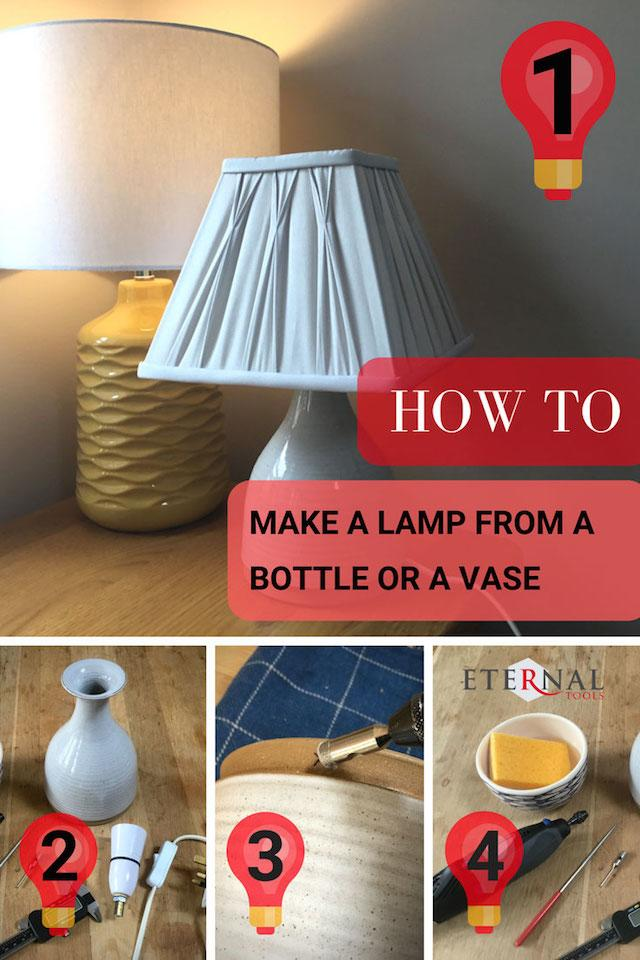 How to make a lamp from an old glass bottle or ceramic vase by Eternal Tools. We show you how easy it is to make and the tools you will need.