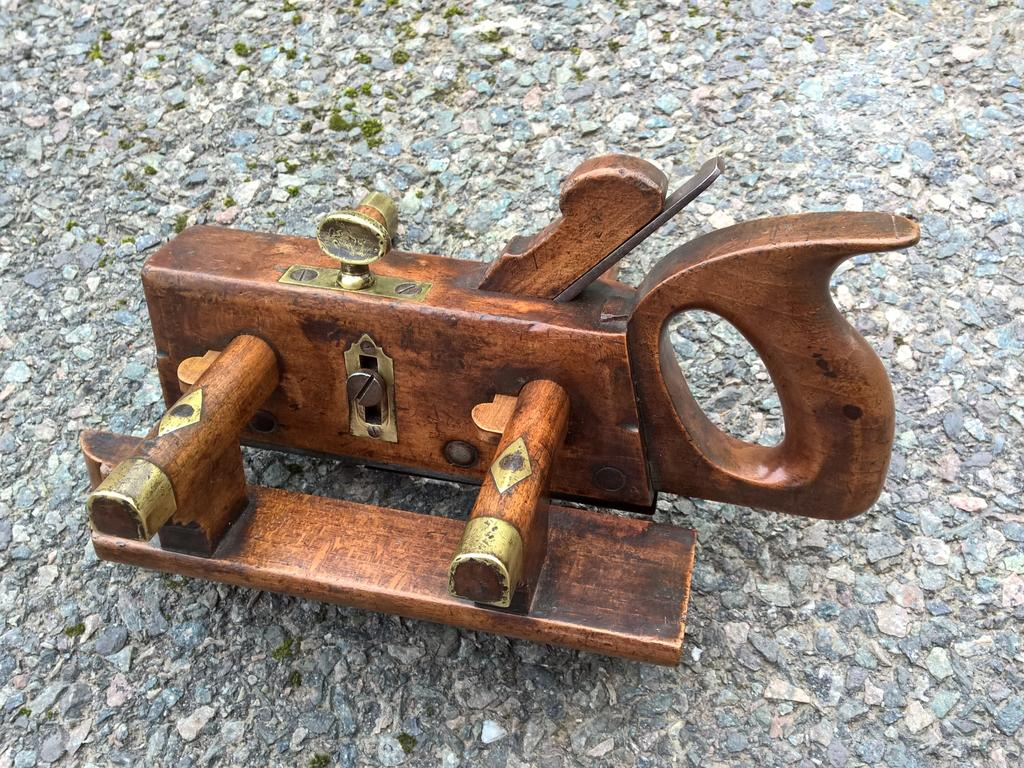 Unusual and Probably Unique Handled Plough Plane by Moseley