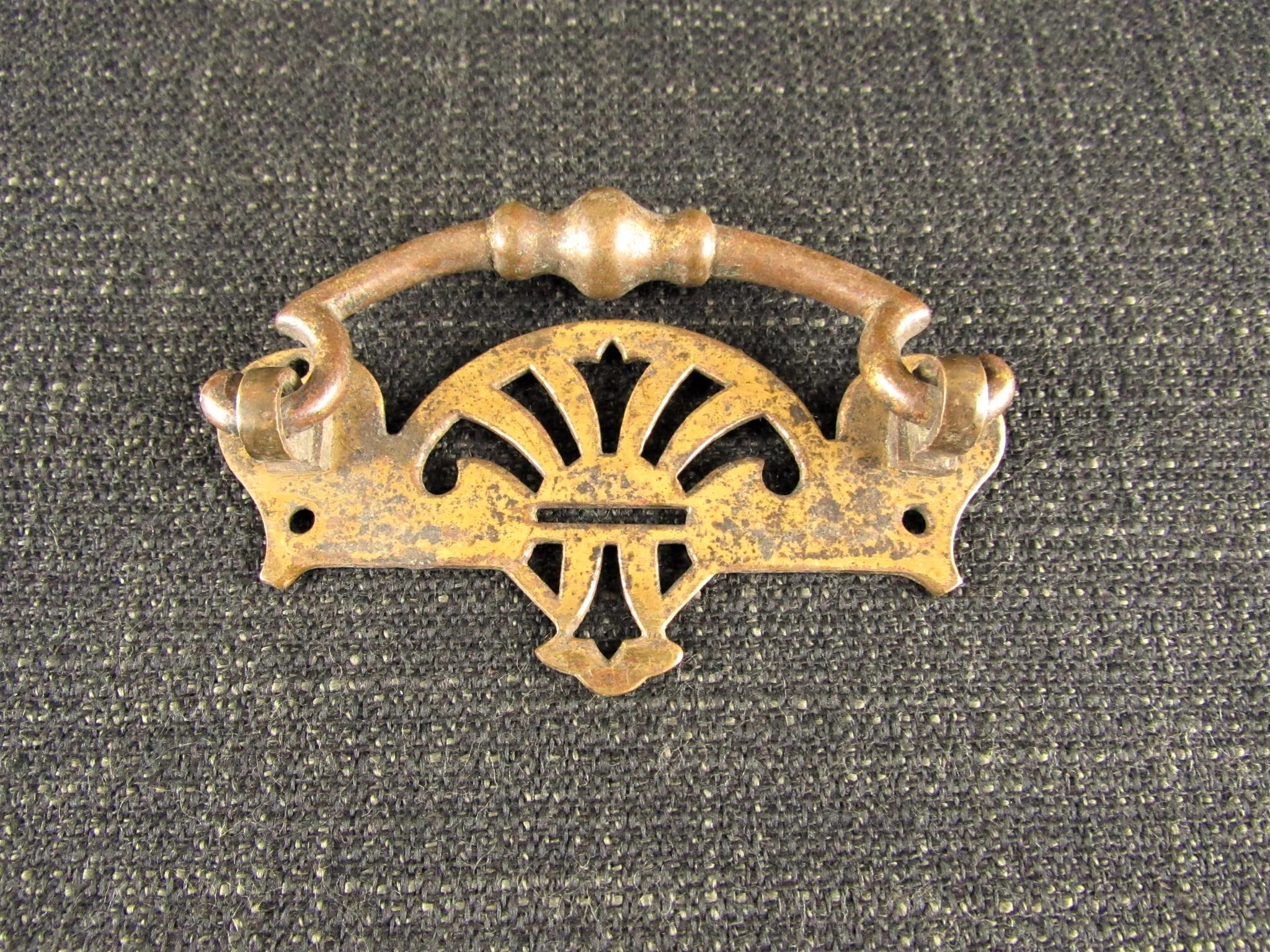 Reclaimed Vintage Brass Cabinet Handle - Art Deco