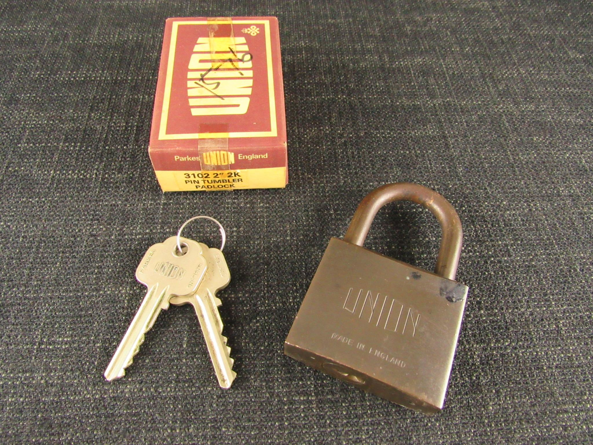 Unused Vintage UNION 3102 Pin Tumbler Padlock - Josiah Parkes & Sons