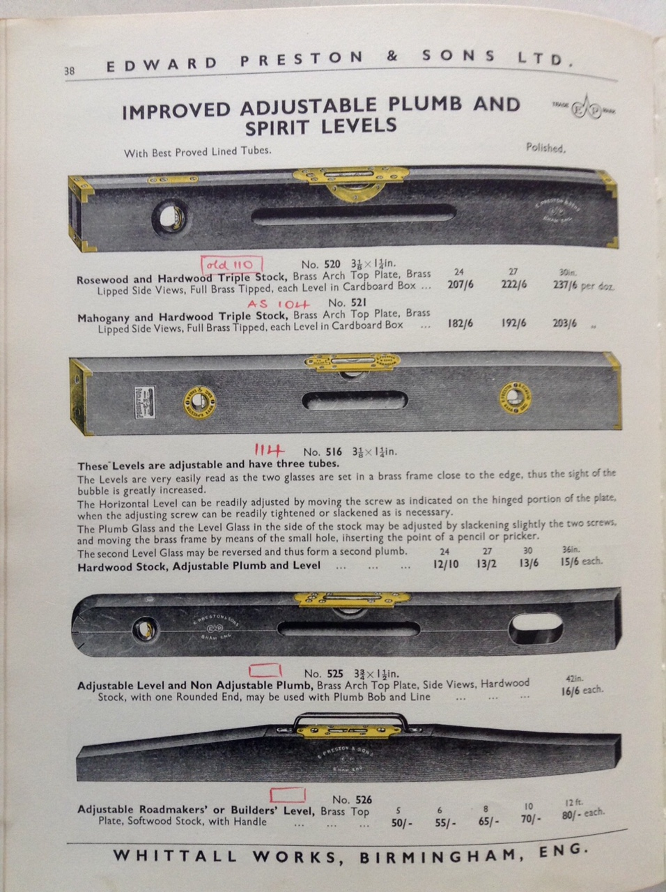 Rare PRESTON No 516 Patent Adjustable Spirit Level - 27 inch