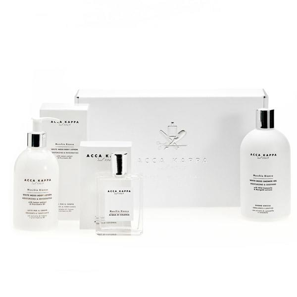 ACCA KAPPA White Moss Gift Set of Eau de Cologne 50ml, Shower Gel 100ml, Body Lotion 100ml, Hand Cream 75ml