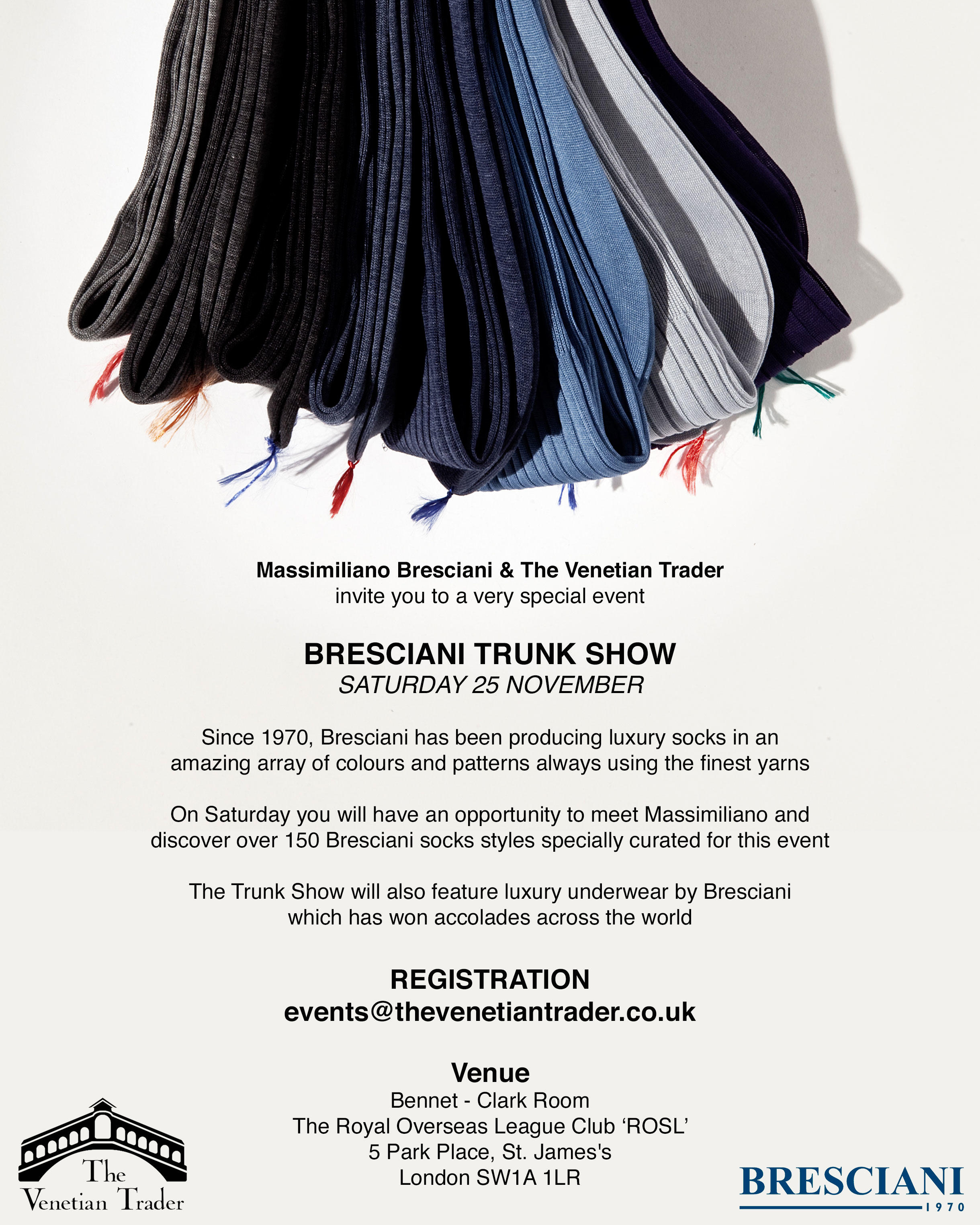 London Events on 25 November 2017 - Socks Popup Trunk Show By Bresciani