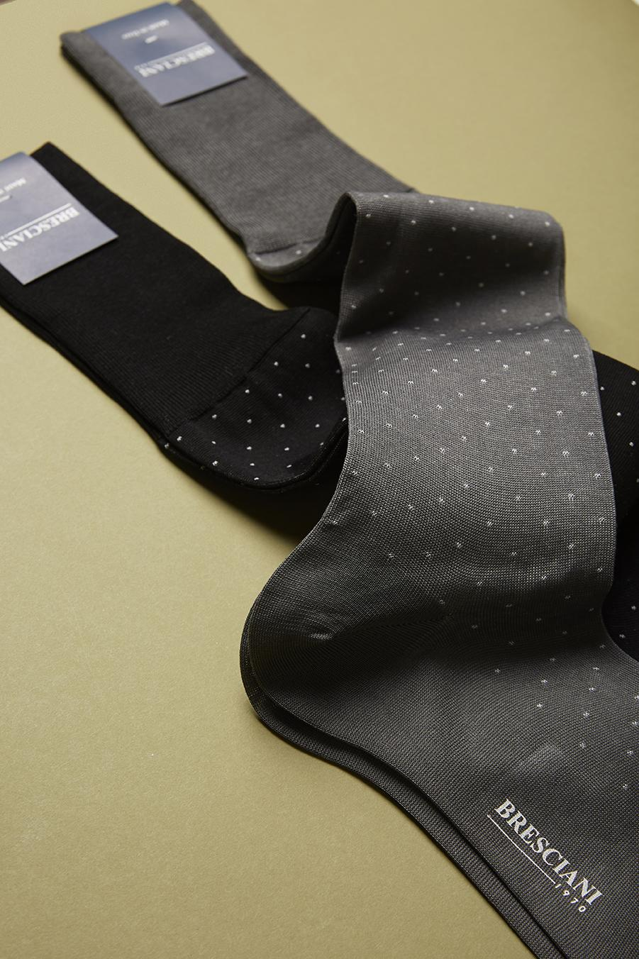Bresciani-over-the-calf-cotton-socks-in-Microdot pattern Grey 3
