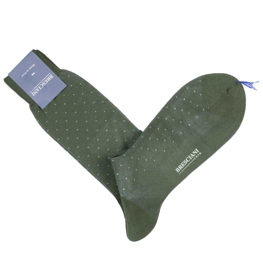 Bresciani-pindot-cotton-socks-army-green-2