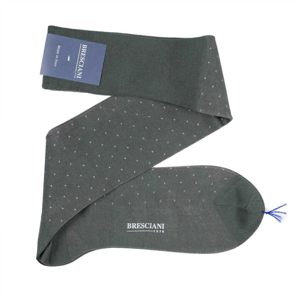 Bresciani-over-the-calf-cotton-socks-in-Navy-grey-colour-in-microdots-pattern-1