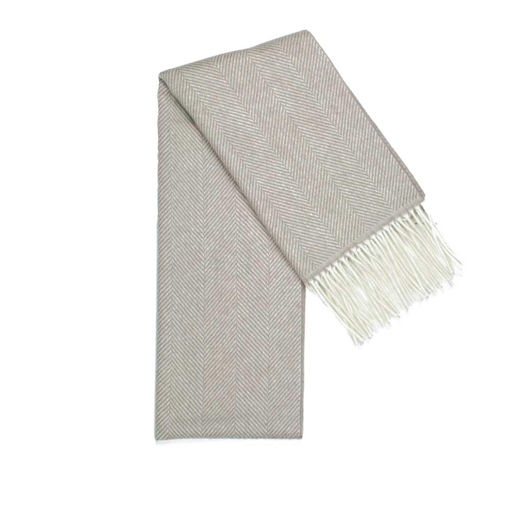 Beige herringbone pattern scarf made with 100% virgin wool