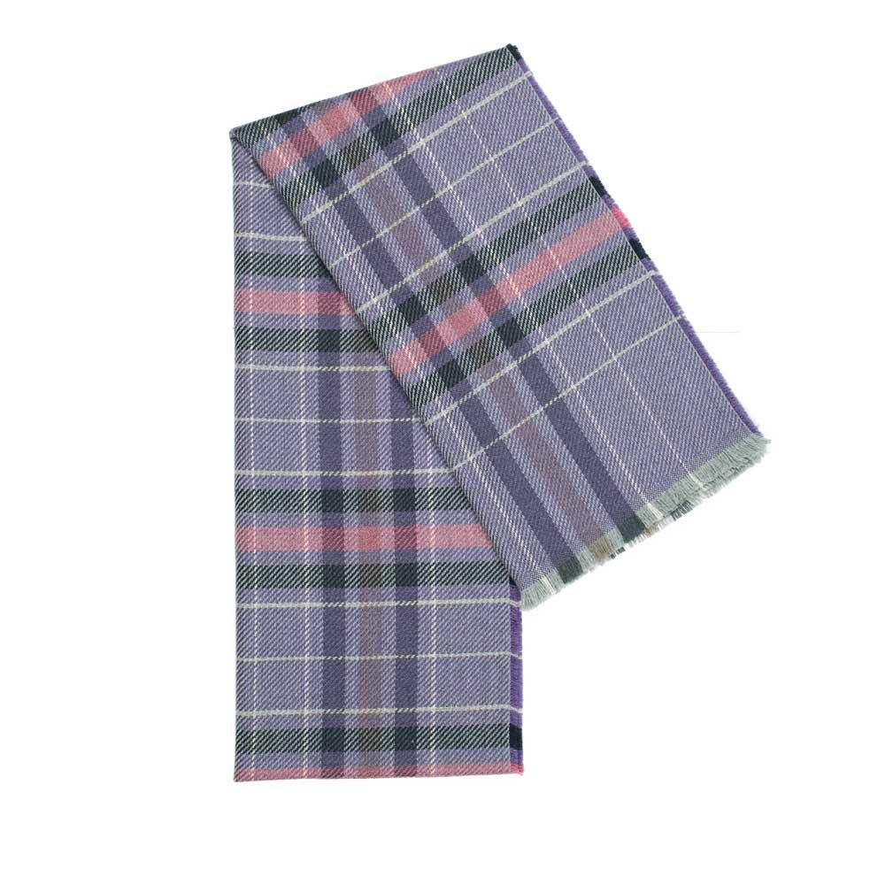 Tartan Wool Scarf in Mauve colour. Made in Italy