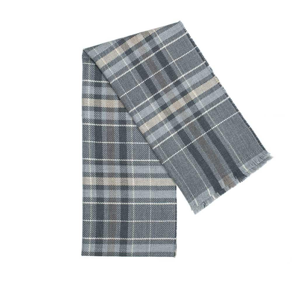 Tartan Wool Scarf in Grey colour. Made in Italy