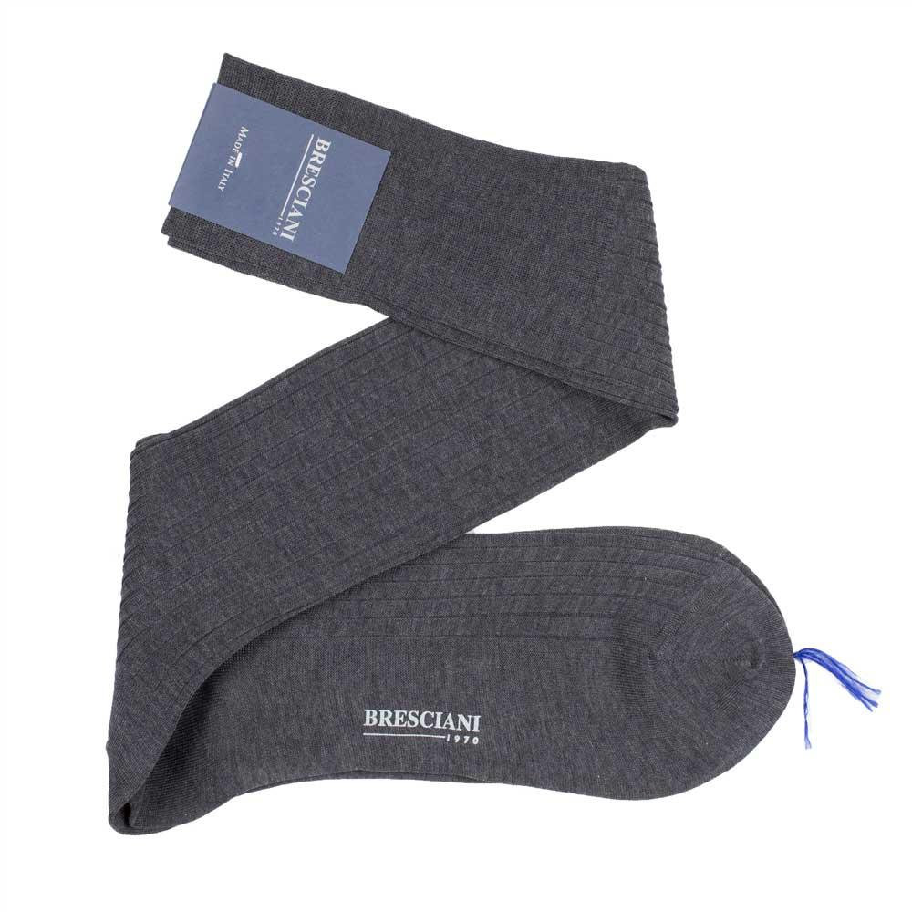 Bresciani-over-the-calf-cotton-socks-in-Anthracite-Grey 1