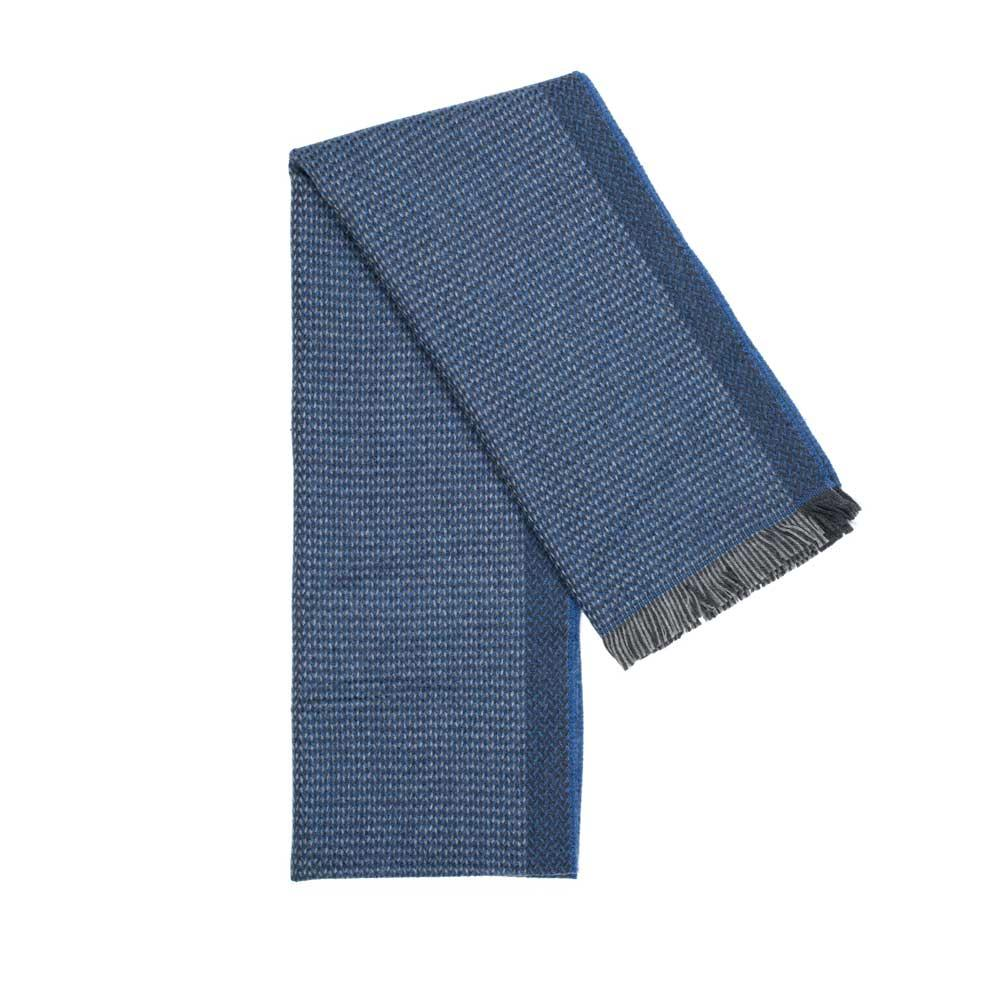 Blue Twill Woven 100% Virgin Wool Scarf