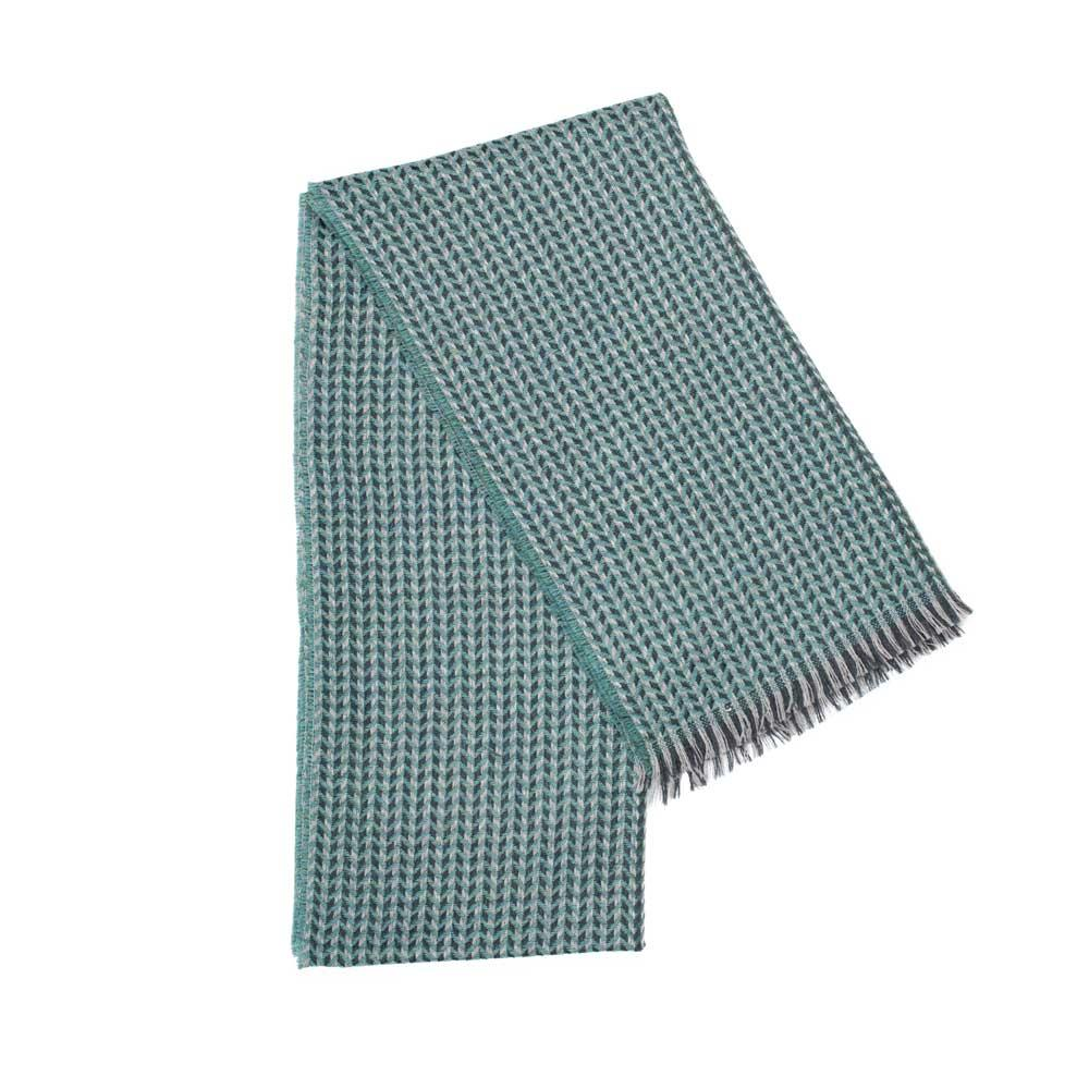 Green cross weave herringbone pattern scarf made with 100% virgin wool. Made in Italy.