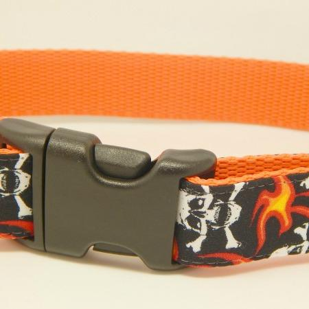 Orange and black skulls and flames dog collar