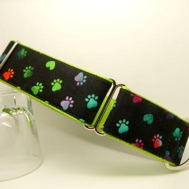 Greyhound collars, rainbow paws on a black background martingale and house collars