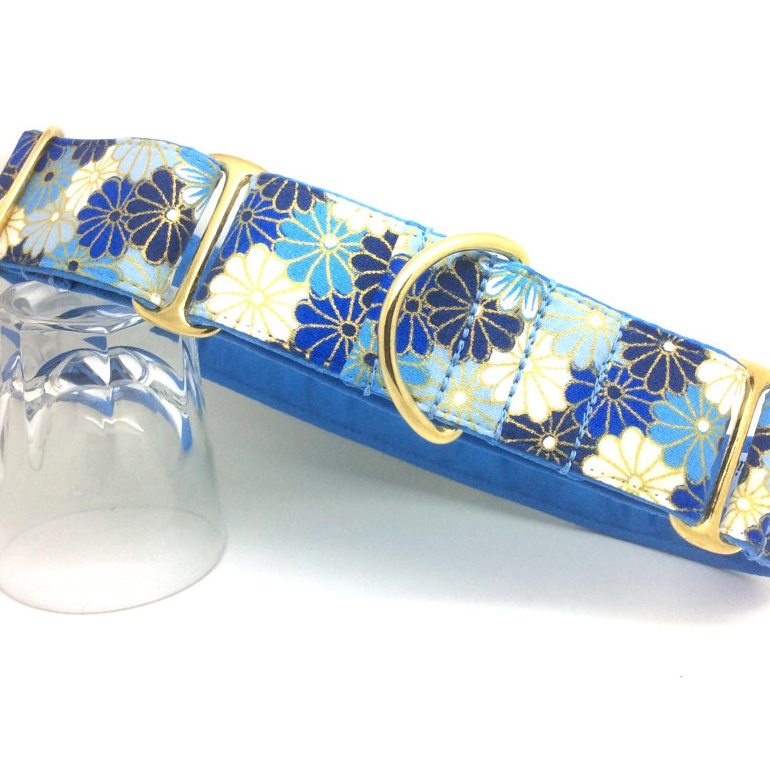 Blue floral dog collar, hand made