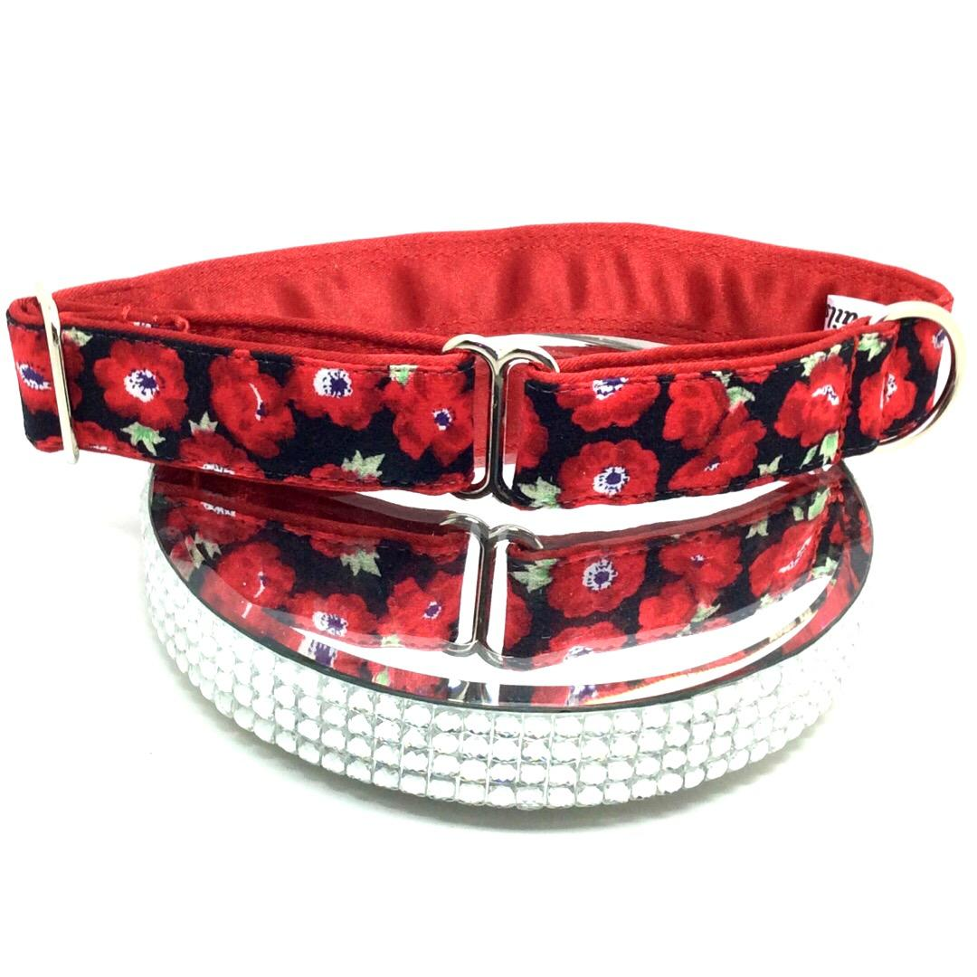 Red poppies greyhound house collar