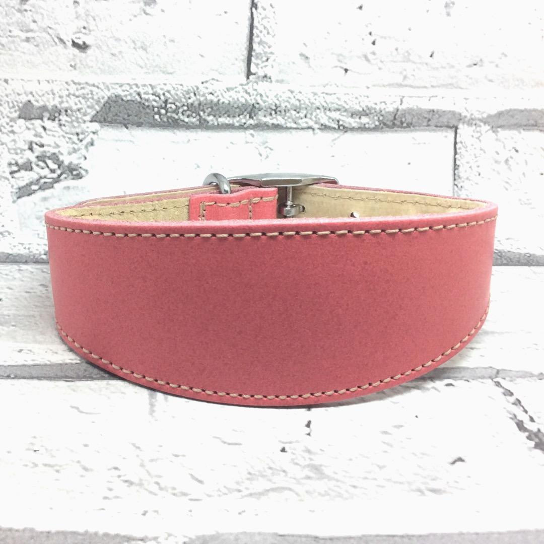 Pink leather whippet collar