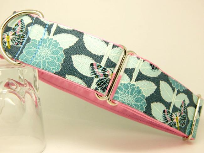 Blue butterfly and flowers dog collar, available as house and walking collars