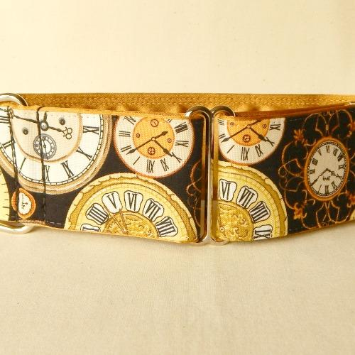 steampunk dog collar, goth, victorian, clocks,