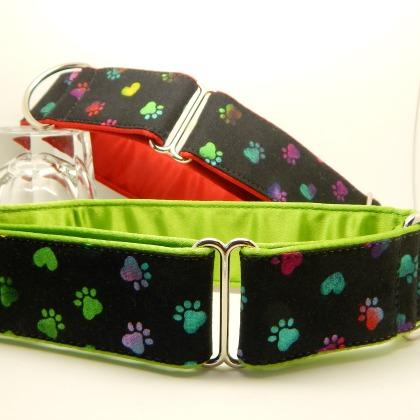 Greyhound collars, martingale and house, rainbow pawprints on black with coloured lining