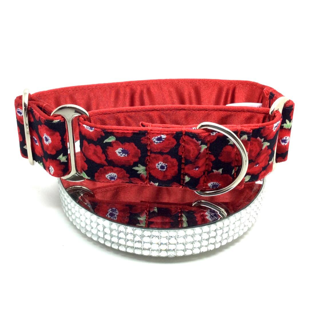 Res poppies Greyhound and whippet Martingale collar